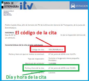 Datos de la reserva de cita ITV Extremadura