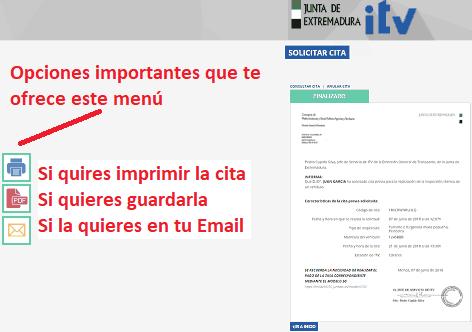 opciones guardar comprobante cita previa ITV Extremadura