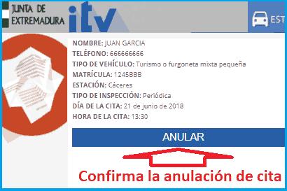 Anular cita ITV Extremadura