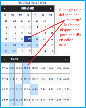 Seleccionar la fecha cita ITV OCA