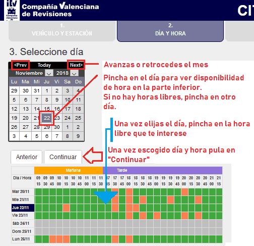 Escoger fecha cita ITV Valenciana revisiones