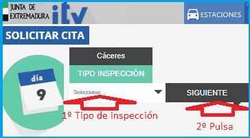Seleccionar tipo inspección