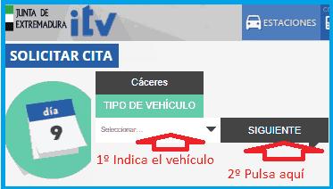 Seleccionar tipo vehículo para la cita previa ITV Extremadura